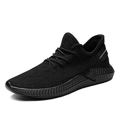 Kvovzo Mens Walking Athletic Shoes Comfort Casual Sneaker Trail Running Shoe for Men Tennis Baseball Racquetball Cycling Black Size: 8