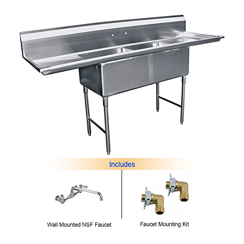 EquipmentBlvd 2-Compartment Stainless Steel Commercial Food Preparation Sink w/Left & Right Drainboards, No Lead NSF Faucet & 2 Faucet Mounting Kits, ETL Certified (18