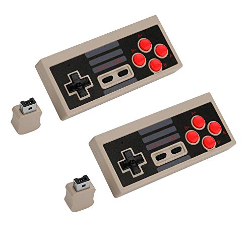 2PCS Wireless Game Controller, AGPTEK 2.4 G Wireless Gaming Controller for NES Classic Edition, Wireless Joypad with 2 Receiver for Classic Gaming System (Grey)