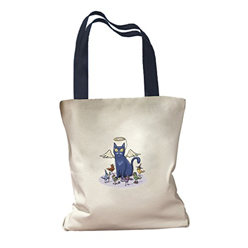 Angel Cat Birds Different Costumes Canvas Colored Handles Tote Bag - Navy - Navy Angel Costume