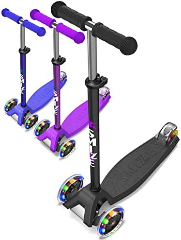 SMIZZE Deluxe – Scooter for Kids Age 3-9 – Adjustable Balance Mini Kick Scooters – for Boys and Girls – with Extra Wide Deck 3 Led Flashing Wheels