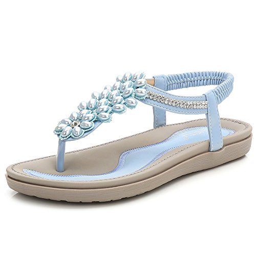 9c4bacb0d Wollanlily Women s Summer Flat Sandals Bohemian T-Strap Thong Slip on Beach  Flip Flop Shoes