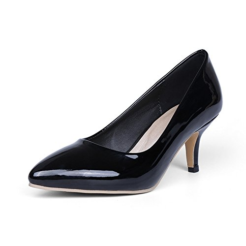 BalaMasa Womens Pointed-Toe Pull-On Slip-Resistant Patent-Leather Pumps-Shoes Black LRgDSwv