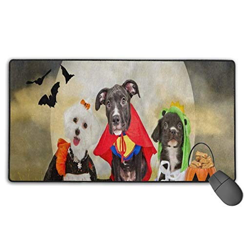 Gaming Mouse Pad (75×40×0.3cm) Computer Keyboard Hipster Puppy Dog Dressed in Halloween Costumes Mouse Mat Desk Pad -