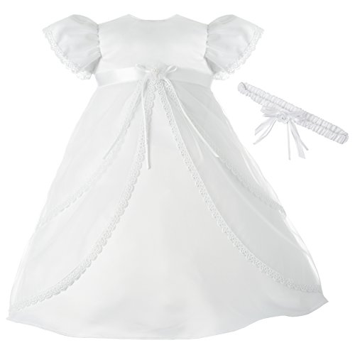Lauren Madison Baby-Girls Newborn Sheer Over Satin Dress Gown Outfit, White, 0-3 Months ()