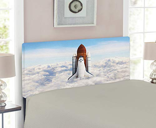 - Ambesonne Outer Space Headboard for Twin Size Bed, Rocket Taking Off on Mission Spaceman Planet Gazing Endeavour Power Print, Upholstered Decorative Metal Headboard with Memory Foam, White Blue Brown