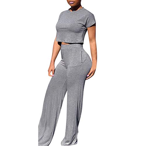 ♡ Londony ♡ Women Casual O-Neck Short Sleeve Crop Tops High Waist Flare Long Pants Jumpers 2 Piece Outfits Sportswear Gray