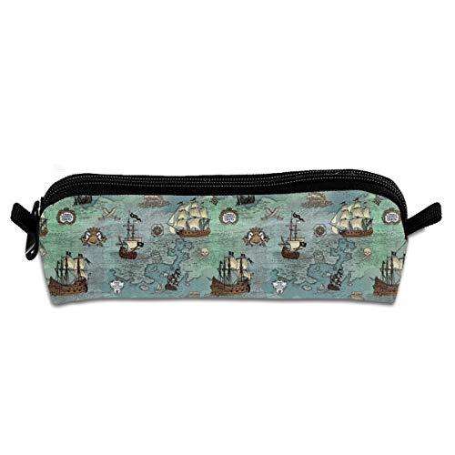FSXIK Pirate Ship Map Novelty Women Colored Cosmetic Bag Zipper Single Layer Travel Storage Makeup Bags Purse