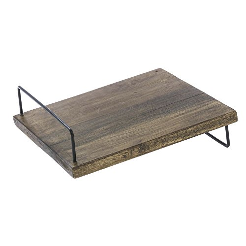 Rustic Look Angled Display Riser Square Mango Wood and Black Iron Slant Riser -12'' L x 12'' W x 3'' H by Hubert