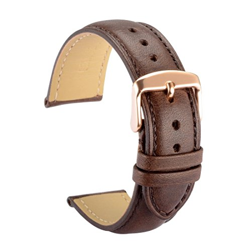 WOCCI 22mm Watch Band Replacement Dark Brown Vintage Leather Watch Strap with Rose Gold Pins Clasp and Tool