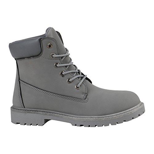 Stiefelparadies Gefüttert Herren Worker Boots Schnürstiefel Schuhe Profilsohle Flandell Grau Grau Carlet