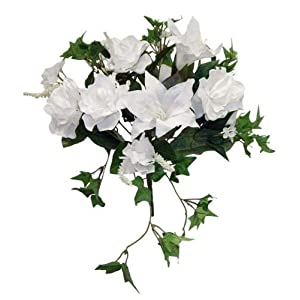 WHITE Gardenia Tiger Lily Ivy Bouquet Silk Wedding Flowers Centerpieces