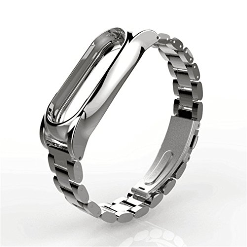 Metal Sportswear (HP95(TM) Luxury Magnet Stainless Steel Wrist Strap Metal Wristband for Xiaomi Mi Band 2 (Silver))