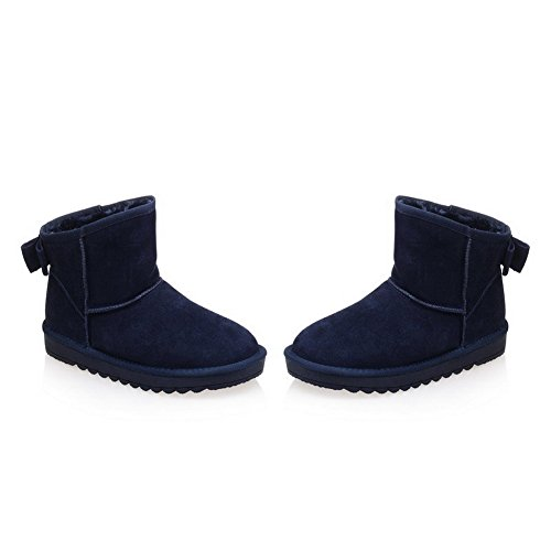 Pull Heels Frosted on WeenFashion Solid Boots Toe Blue Round Women's Low Closed Snow qwf4p8n