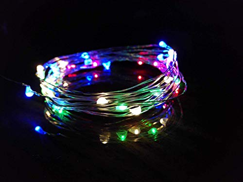 BOLWEO Colorful Battery Powered Led String Lights,Battery Operated Christmas Lights,10Ft Copper Wire 30 LEDs,Waterproof Indoor Outdoor Home Bedroom Decoration