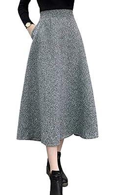 chouyatou Women's Elastic Waist A-Line Pleated Pull-On Long Midi Tweed Wool Skirt