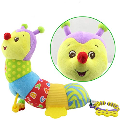 Leaflying Music Toys Babies, Musical Caterpillar Toy Baby Rattles Teether Soft Colorful Worm Infant Toy Interactive Developmental Educational Plush Stuffed Toy Newborn, Boys Girls
