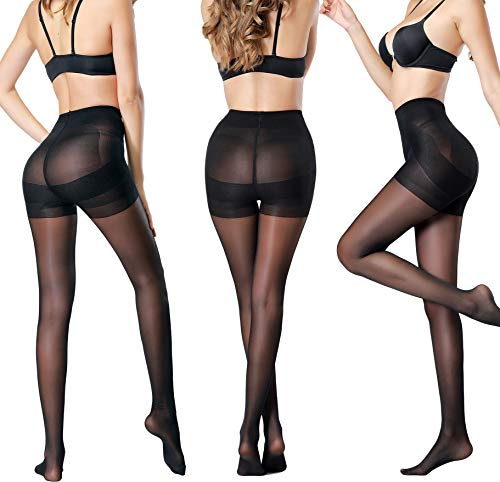 - Women's 3 Pack Sheer Pantyhose Silky Reinforced Crotch Tights Panty Hose of MERYLURE (Large, Black,Pantie Crotch)