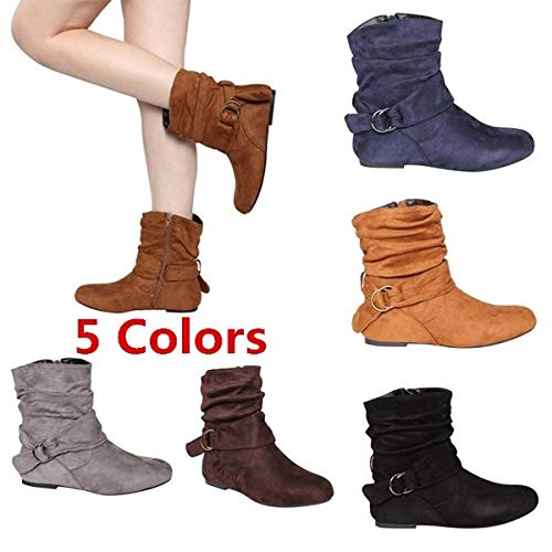 (tqmaket Fashion Women Autumn Winter Shoes Flat Flat Slouch Ankle Boots Faux Suede Metal Ring Belt Strap Cute Slip on Bootie Non-Slip Female Casual Footwear(Brown,8.5))