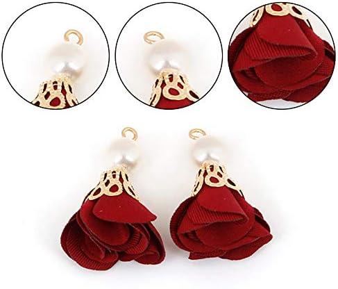 Vommpe Lot de 10 Porte-cl/és avec Pompons pour Boucles doreille /à Tige en Perles et Fleurs 3cm Red