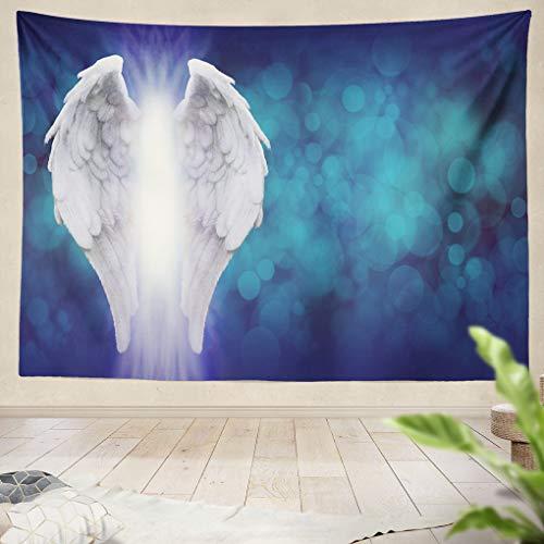 - Summor Tapestry Angel Wings Blue Bokeh Banner Wide Blue Bokeh Large Pair Left Side Shaft Bright Light Between Hanging Tapestries 60 x 80 inch Wall Hanging Decor for Bedroom Livingroom Dorm