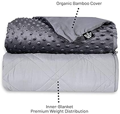 Bamboo Cooling Weighted Blanket For Adults /& Children With Minky Soft Cover Ivory, 60x80 Weighted Comfort