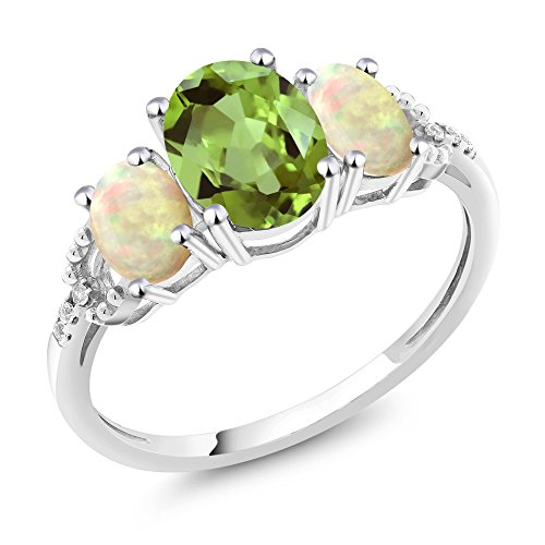 White Gold Three Prong (10K White Gold Diamond Accent Three-Stone Engagement Ring set with 2.02 Ct Oval Green Peridot White Ethiopian)