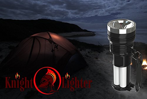 4th of July Sale Rechargeable Ultra Bright Portable LED Camping Lantern and 500 Lumen Flashlight With Solar or AC Rechargeable Lithium Battery (Black) #1 Top Rated Handheld Torch
