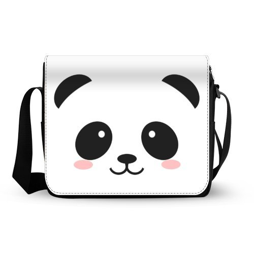 Cute Panda Face Mens Womens Messenger Bag Cross Body Shoulder Bag Oxford Fabric