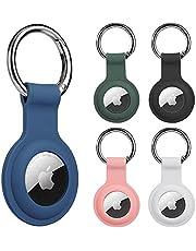 AirTag Hoesje met Sleutelhanger, 5pcs AirTag Siliconen Beschermhoes, UNOLIGA Airtag Houder voor Hondenhalsband, Krasbestendig Anti-Verloren (Wit Grijs Roze Blauw Groen)