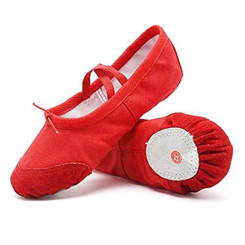 DoGeekBalletShoesforGirlsPractiseBalletSlipperDanceShoeCanvasSplitSoleBalletShoesforWomenKidsToddlers(Red) ()