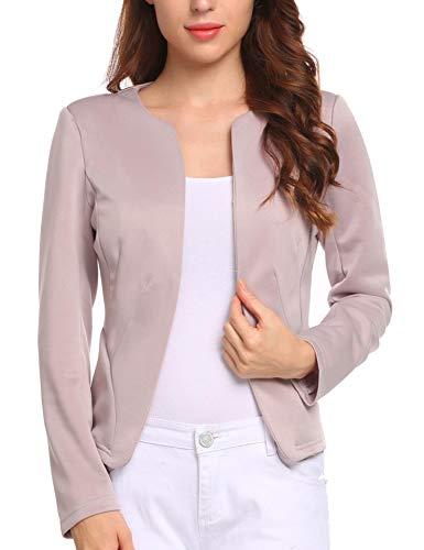 (Zeagoo Womens Casual Basic Work Office Cardigan Blazer Boyfriend Jacket Open Front Pink Purple,XX-Large)