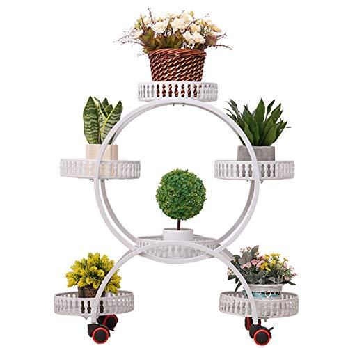 YINGZI Multi-Layer Removable Shelf Storage Rack, White/Black Round Wheel Plant Stand, Indoor Living Room Balcony Can Accommodate 6 Pots of Plant Display Rack (Color : Black)
