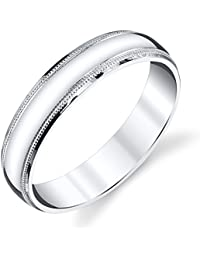 925 sterling silver mens wedding band ring 5mm classic plain milgrain design