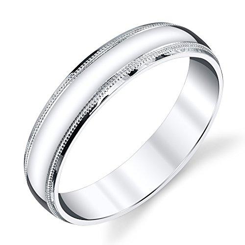 925 Sterling Silver Mens Wedding Band Ring 5mm Classic Plain Milgrain Design (5mm Plain Band Ring)