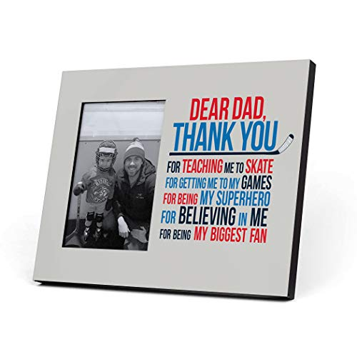 ChalkTalkSPORTS Hockey Dear Dad Picture Frame | Blue/Red