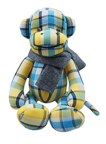 Lovely 10-Inch Yellow-Blue Thai Hand-woven Cotton Little Monkey Soft Toy by Best Berry
