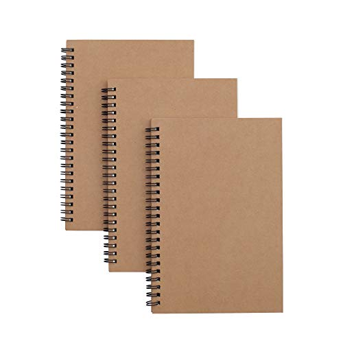 TWONE 3 Packs Soft Cover Notebook with Lined Paper Brown Spiral Notebooks with 100 Ruled Pages 50 Sheets Memo Notepads for Home School Travel, 8.25 x 5.55 inch