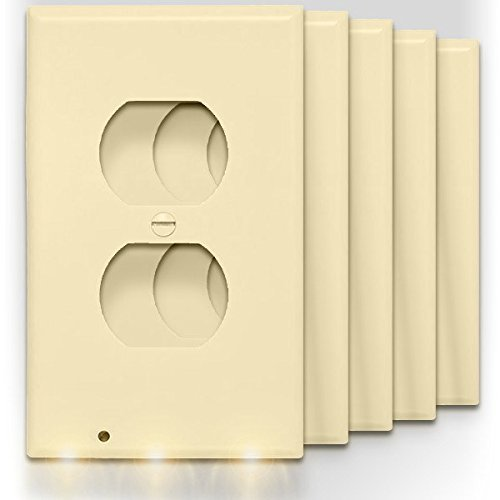 SnapPower Guidelight - Outlet Wall Plate With LED Night Lights - No Batteries Or Wires - Installs In Seconds - (Duplex, Ivory) (5 Pack)