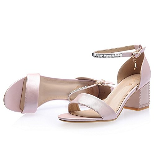 Shoes Pink Summer 9 TAOFFEN Women Block Heel pOzzwP