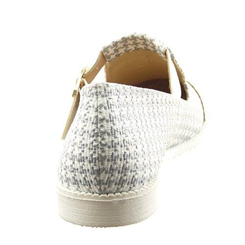 Sopily - Zapatillas de Moda Mocasines Tobillo mujer patta de gallo patentes Hebilla Talón Tacón ancho 2 CM - Plata