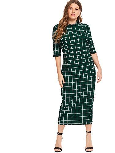 Floerns Women's Short Sleeve Plus Size Gingham Bodycon Business Pencil Dress Green 1XL - Green Dress Gingham