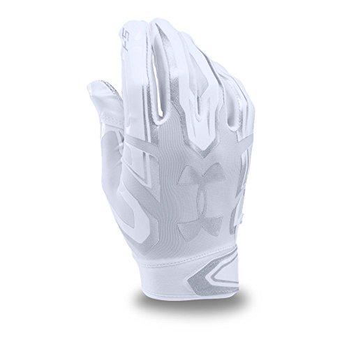 Under Armour Men's F5 Football Gloves, White/Metallic Silver, Medium