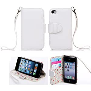 Creativecase Floral Interior Leather Case Cover for Apple iPhone 5G/5S with inner Floral print / One Lanyard White