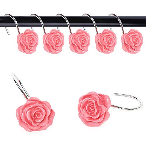 Uphome Flower Shower Curtain Hooks, Rust-Proof Decorative Spring Garden Rose Floral Shower Hooks Ring for Women Girls Bathroom Living Room Cottage Shabby Chic Decor, Pack of 12