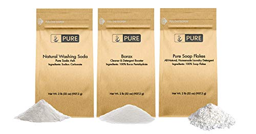 (Laundry Soap Kit by Pure Organic Ingredients (2 lbs each) Borax, Natural Washing Soda, Soap Flakes. Eco-Friendly Packaging, Multi-Purpose Cleaners & Detergent Boosters)