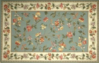 SANDHILL 30'' x 50'' Petit Point Wool Hearth Rug Slate Blue Ivory Floral ()