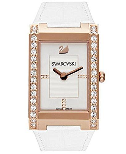 - Swarovski Citra Square White Dial Leather Quartz Ladies Watch 1094370