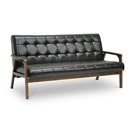 Amazon.com: Faux Leather Tufted Sofa, Comfortable Couch ...