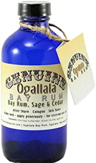 product image for 8oz Genuine Ogallala Bay Rum Sage and Cedar Aftershave. Old-time looking bottle and label.